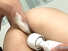 Petite japanese takes three cocks at once
