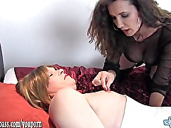 Kinky dom fucks crossdresser sluts face and ass with two big strapon cocks