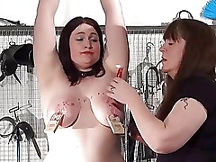 Amateur lezdom and dominatrice torture of bbw slav