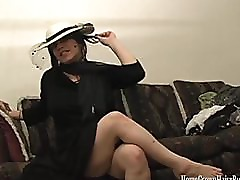 Polly Garter Toys Her Hairy Pussy