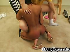 Ebony amateur strips her spankable part5