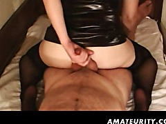 Amateur girlfriend homemade handjob and anal with cumshot