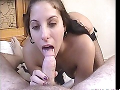 Bitch in stockings giving head