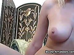 Busty amateur Lisa with her sticky fingers