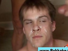 Real amateur twink gets bukkake and anal in reality gangbang