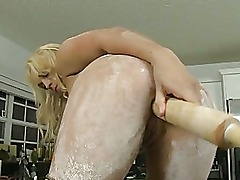 Ashley Reeves amateur adorable busty blonde masturbating in the kitchen