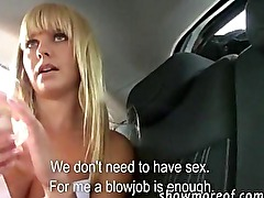 Yummy blonde amateur gets banged in a car for money