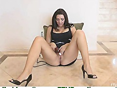 Madeline innocent young amateur brunette toying pussy on floor