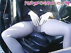 Pantyhose Wife In Her Car In Road Layby Fingering Her Cunt Throug