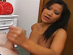 Asian babe wants to practice her blowjob