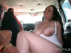 Big nippled amateur gets a hot facial in the sex bus