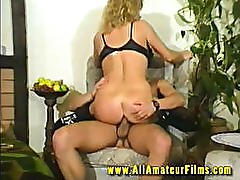 Blonde housewife fucked by husband in home video
