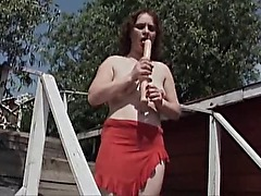 Amateur MILF Ivany Dildos Her Pussy Outdoors