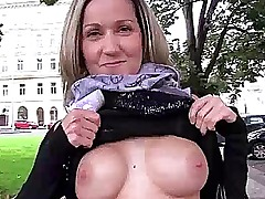 Public sex with busty euro amateur