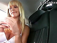 Amateur Czech girl Bela gives head and fucked in her car for cash