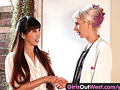 Girls Out West - Lesbian squirting at the doctors office