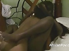 Horney ebony sluts grind each other and suck white guy dry