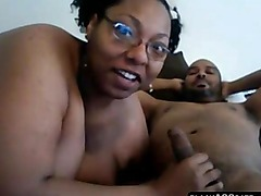 Amateur BBW ebony gives blowjob