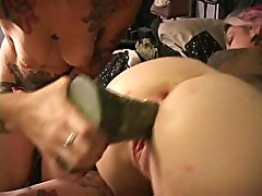 Tiny tatted zombie girl takes monster insertion