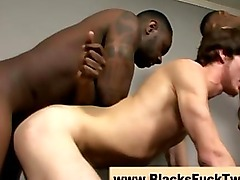 Amateur interracial twink gets fucked