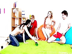 Raunchy teens having foursome