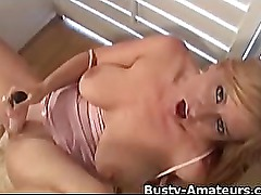 Busty amateur Violet playing herself with toy