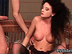 Awesome babe in stockings gets fucked
