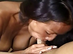 Asian sucks, fucks, gets a cumshot, sucks the cameraman