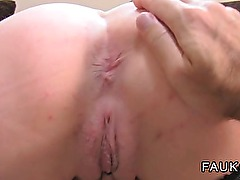 Busty British amateur takes creampie
