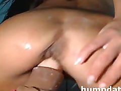 Sexy girl with rides on huge squirting dildo