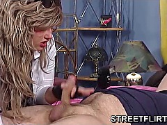 Gloved handjob from big amateur girl
