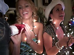 Lascivious babes Jenna Parks and Jessica Nyx are attending a Christmas party and they quickly turn it in to blowjob orgy to separate from the others and continue with the lex fun.