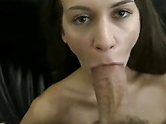 Hot and horny Angelina with sexy natural tits gets most of the pleasure when she is sucking her boyfriends huge and hard dick and licking his big balls.