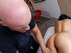 Beautiful young babe Amber Cox, has her body covered in oil and her pussy is dripping nice warm juice of pleasure. The babe likes the massage very much. Enjoy the video.