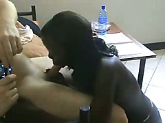 Hot Black Babe Sucking White Dick