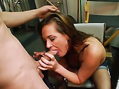 Stunning brunette milf Tory Lane enjoys in giving a hot blowjob session and playing with her big bazookas in front of the camera in the back room during her amateur casting