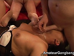 Amateur gangbang at a private club