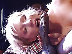 Horny blonde amateur flashing tits and doing blowjob for black guy