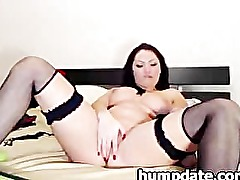 Pussy fingering and toying brunette babe