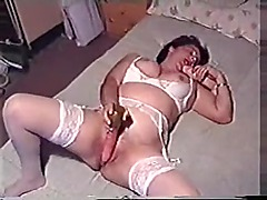Ugly hoe sucks and fucks dildos in bed