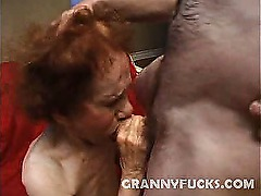 Granny Linda was realy excited when we told her that we had a surprise for her. She wanted to have it right away and so she had her mouth plugged full of cock while her pussy was being finger fucked. Finally, this horny granny had her pussy filled on the