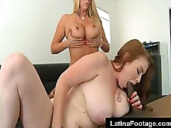 Two busty blonde MILF fuck a big black cock