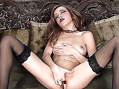 Gorgeous babe with small boobies Vitoria Black is getting very horny while wearing her favorite black stockings and her sexy high heeled shoes. She is fingering herself while she is so wet.