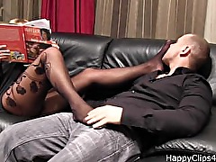 Foot smelling with cock stroking
