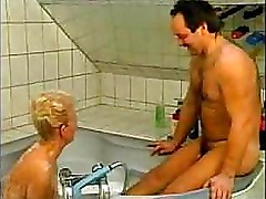 Nasty German Grandma Fucked In Bathtub amateur mother milf granny olderwoman younger man cumshot blowjob homemade