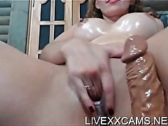 Oiled body rubbed and pussy fingered