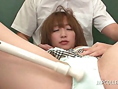 Asian sweetheart in school cunt teased hard in gangbang