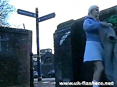 Busty amateur upskirts peek at sexy blonde voyeur Cherry flashing pussy in publi