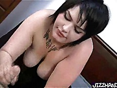 BBW chick giving handjob