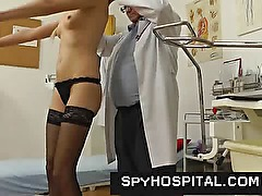 Skinny tall blonde physical and pussy exam on hidden cam